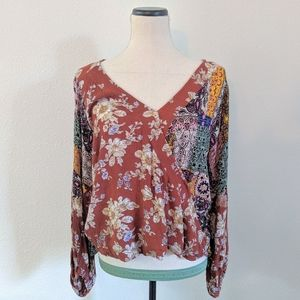 Umgee Floral and Paisley Patchwork Faux Wrap Top